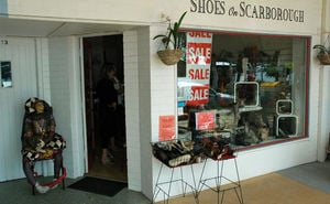 Shoes on Scarborough shop front and window on Landsborough Ave