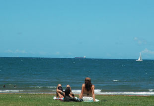 People sunbaking on grass in front of Suttons Beach Redcliffe